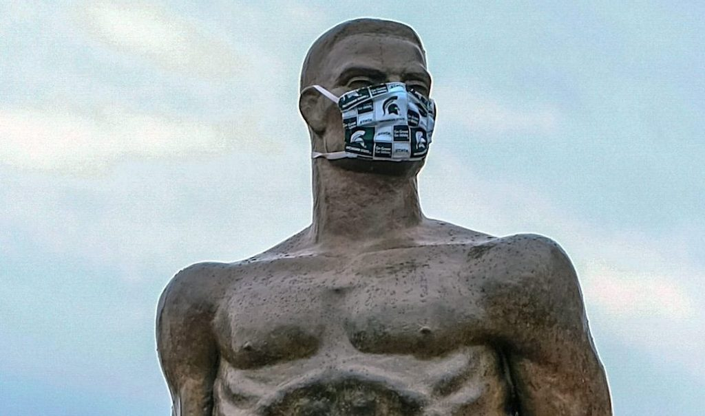 Sparty in a Face Covering
