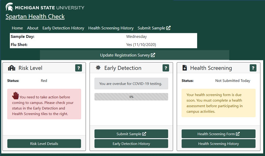 Screen shot of new Spartan Health Check site